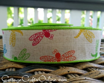 """Wired Ribbon, 1 1/2, Dragonfly on Tan Faux Linen - TEN YARD ROLL -   """"Fly Away"""" Green, Blue, Orange, Red, Yellow Craft Wire Edged Ribbon"""