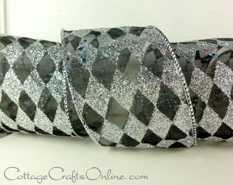 """Wired Ribbon, 2 1/2"""", Silver Glitter & Black Harlequin Diamond - THREE YARDS - Offray """"Silver Harlequin""""  #60410 Christmas Wire Edged Ribbon"""
