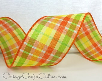 """Wired Ribbon, 2 1/2"""" wide, Orange, Yellow, Lime Green Check Plaid - TEN YARDS - Offray """"Citrus Tartan"""", Spring, Fall Wire Edged Ribbon"""