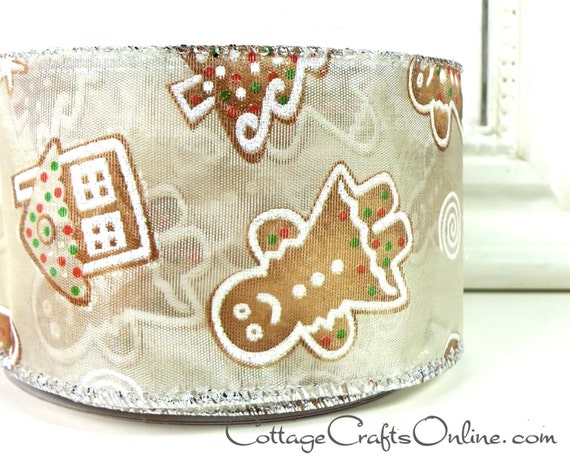 Christmas Wired Ribbon 2 1 2 Gingerbread Cookies Sheer