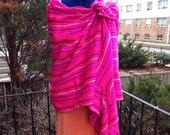 3 Yard Fabric Rebozo - Pink Mexican Cambaya Shawl- Tribal Pattern Wrap - Doula and Midwife Labour Tools