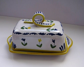 Vintage Hand Painted Covered Butter Dish by Sigma the Tastesetter - Yellow Blue Flowers - Covered Cheese Dish - Kitchen Decor - Collectible