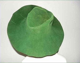 Vintage Green Borsalino Felt Italian Classic Floppie Slouchy Bucket Hat - M