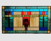 Arts and crafts stained glass panel window hanging amber stained glass window panel stained glass mission prairie style glass valance 0094