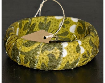 67mm Olive Green Vines Fabric Wood Dome Bangle Bracelet Wooden