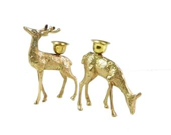 Brass Deer Candlestick Holders Christmas