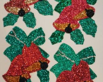 Mid Century LARGE Christmas Bells, Sequin Bead Felt Appliques, Handmade Bead/Sequin Appliqued Christmas Bells, Christmas Past, Vtg Christmas