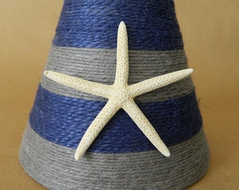 Jute Wrapped Navy and Gray Chandelier Lampshade with Pencil Starfish Nautical decor Custom Order Only