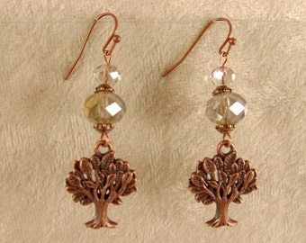 Tree of Life Earrings - Smokey Grey Crystals with Antique Copper Findings - E117