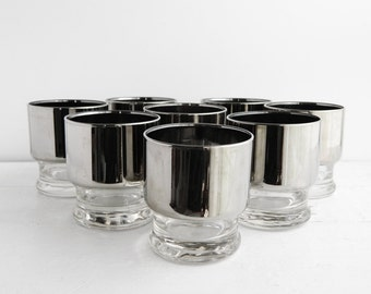 Set of 8 Vintage Chrome Stacking Drinking Glasses - Mid Century Dororthy Thorpe Style Whiskey Glasses - Stackable Barware Silver Mirror Rim
