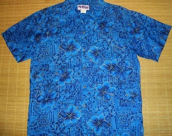 Vintage 70s Mo Bettah Blue Hawaiian Aloha Shirt - XL - The Hana Shirt Co