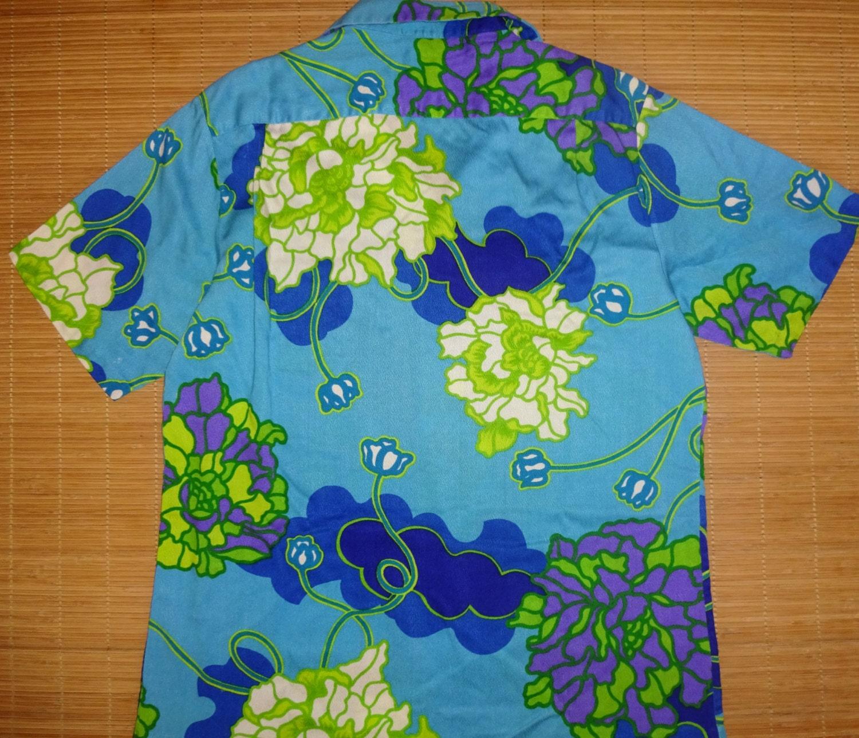 Mens vintage 70s pomare hawaii hawaiian aloha shirt l for The hawaiian shirt company
