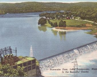 Lake Taneycomo, Missouri, Ozarks, Powersite Dam - Linen Postcard - Unused (M)