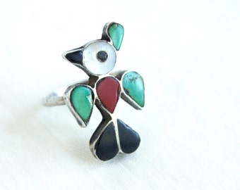 Zuni Bird Ring Vintage Sterling Silver Turquoise, Onyx, Red Coral and Mother of Pearl Size 5 Inlaid Stone