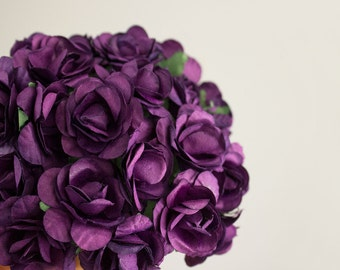 72 Roses / Purple Paper Flowers Bouquets / 30 mm / Roses With Wire Stems / 72 Blossoms Total / Flower Ball / Wedding / Party Favors