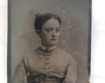 Tintype Photograph Civil War Era Woman with hand tinted cheeks