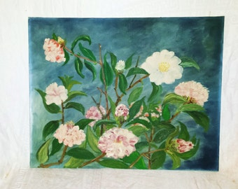 Vintage Cottage Cabbage Roses Oil Painting