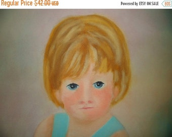 Valentine SALE Original Vintage Oil on Canvas Frame Little Girl With Doll Painting R. Gold