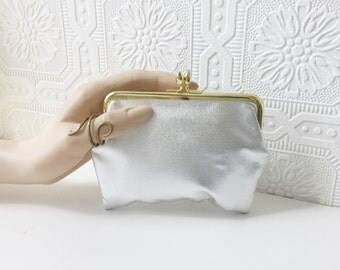 60's Silver Pouch, Hinge Top Bag with Water Resistant Lining, Makeup Bag, Toiletries Kit, Faux Leather, Clutch Purse, by St. Thomas, Vintage