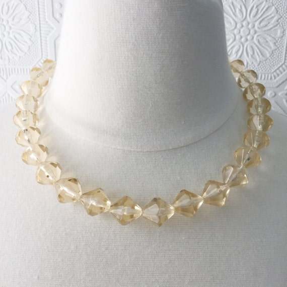 "1950's ""Crystal"" Necklace, Pale Yellow Beads, Barely Peach, Vintage"