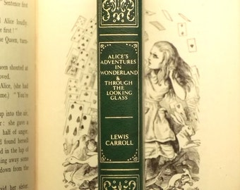 Faux leather book Alice in Wonderland Lewis Carroll omnibus vintage book