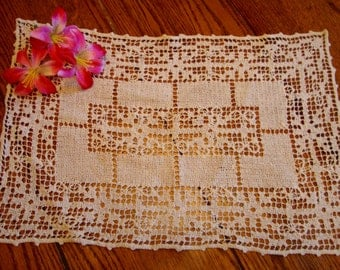 Filet Lace Tray Liner Vintage French Crochet Lace Doily Placemat
