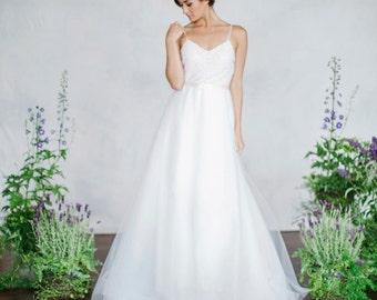 Sequin Tulle Wedding Dress V-Neck Light Weight Wedding Dress A-line wedding dress with sequin bodice, layers of tulle skirt, Bridal
