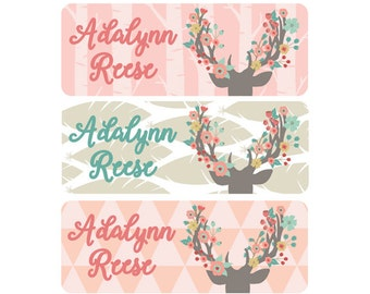 Woodland Name Labels, Girl, School Name Labels, Daycare Name Labels, Baby Bottle Labels, Waterproof, Clothing, Deer, Flowers, Floral Antlers