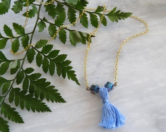 Glass Bead Tassel Necklace