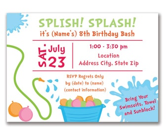 Customizable Water Balloon Party Invitation [Digital File ONLY]