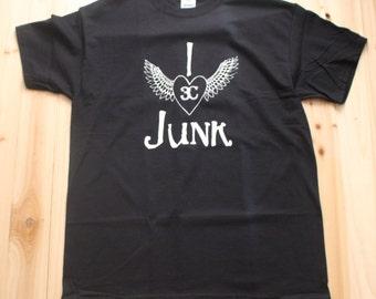 I LOVE JUNK TEE, I Heart Junk, I Love Junk, Junk, Western, Gypsy, I <3 Junk, Heart With Wings, Junkin', Pickin', Thrifting, Vintage