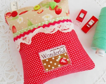 Strawberry Themed Pincushion With Front Pocket