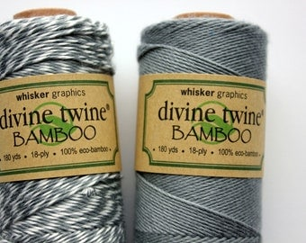 CLOSEOUT - Bamboo Divine Twine - Solid Gray or Stripe Bakers Twine - Full Spool - 180 yards