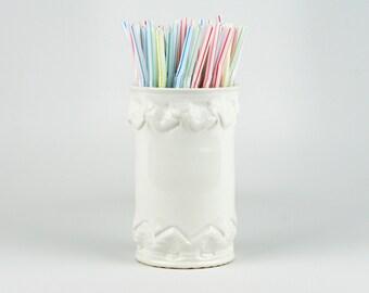 White Utensil or Straw Crock