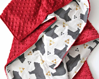 Triangle Bear Blanket, Crimson Minky, Bedding, Nursery Crib Decor,Tribal, Baby boy