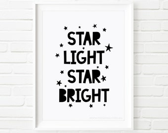 Kids Prints, printable quote, Star light star bright, nursery decor, Printable Art, nursery art, children's print, black and white, wall art