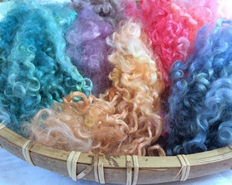 Hand Dyed British Wensleydale Wool locks 85gms for Waldorf Dolls, Art Dolls, Blythe Dolls, Puppets Hair and Wigs 'Fairy Garden' colorway