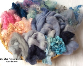 Dyed British Rare Breed Mixed Wools for Blending. 150gms. Spinning Art Yarn & Felting. Merino, Teeswater, Silk.  'Sky Blue Pink' colourway