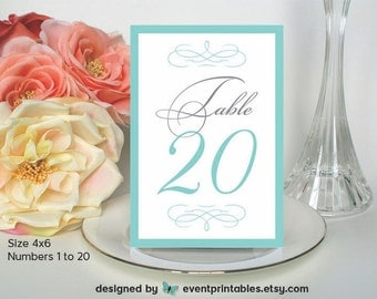 Printables 1to20table 21 to 30 printable starfish table numbers aqua by eventprintables 1 20 audrey suite 4x6 turquoise robins egg blue silver grey cards digital file event