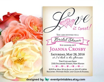 Love is Sweet Bridal Shower Invitation, DIY Printable, Pink Heart Vintage Wedding Valentine Party Invite by Event Printables