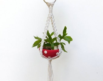 Macrame Plant Hanger with matching Polymer Clay Bowl, mini planter, air plant holder