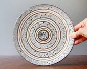 Mid Century Italian Pottery / Ceramic Plate Gold / White Lava Glaze