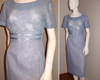 Vintage 1950s 1960s Blue Lace Cocktail Party Dress with Double Kitten Bow and Rhinestone Belt Detail