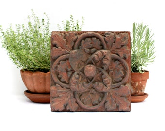 Victorian Terracotta Brick - Antique Pressed Terra Cotta Tile - Architectural Salvage - Elm Leaf Acorn Design - Ornamental Garden Decor -