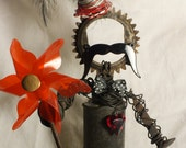Parker the Barker, the carnival creation, steampunk industrial gear robot sculpture, found object art, OOAK