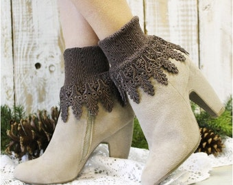 SIGNATURE LACE socks Chocolate brown womens socks lacy socks short boot socks ladies hosiery lace ankle cuff socks Catherine Cole  SLC2