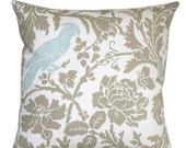 SALE Decorative Throw Pillows- Premier Prints Powder Blue Barber Bird Pillow Cover- Zippered Pillow- Cushion Cover- Baby Blue Accent Pillow