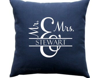 Personalized Name Pillow- Mr. and Mrs. Custom Home Decor- Wedding Gift- 16x16 Zippered Cushion Cover- Choose Colors- Anniversary Gift
