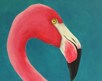 Flamingo, Pink Flamingo, Acrylic Painting, Pink Flamingo Original Art, Flamingo Painting, Flamingo Picture, Flamingo Art