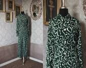 Unisex Vintage 1950's 60's Green Swirl Print Two Piece Pajama Set M/L